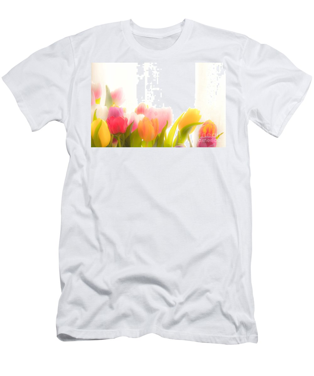 Tulips Men's T-Shirt (Athletic Fit) featuring the photograph Colourful Tulips That Are Softened Digitally by Kerstin Ivarsson