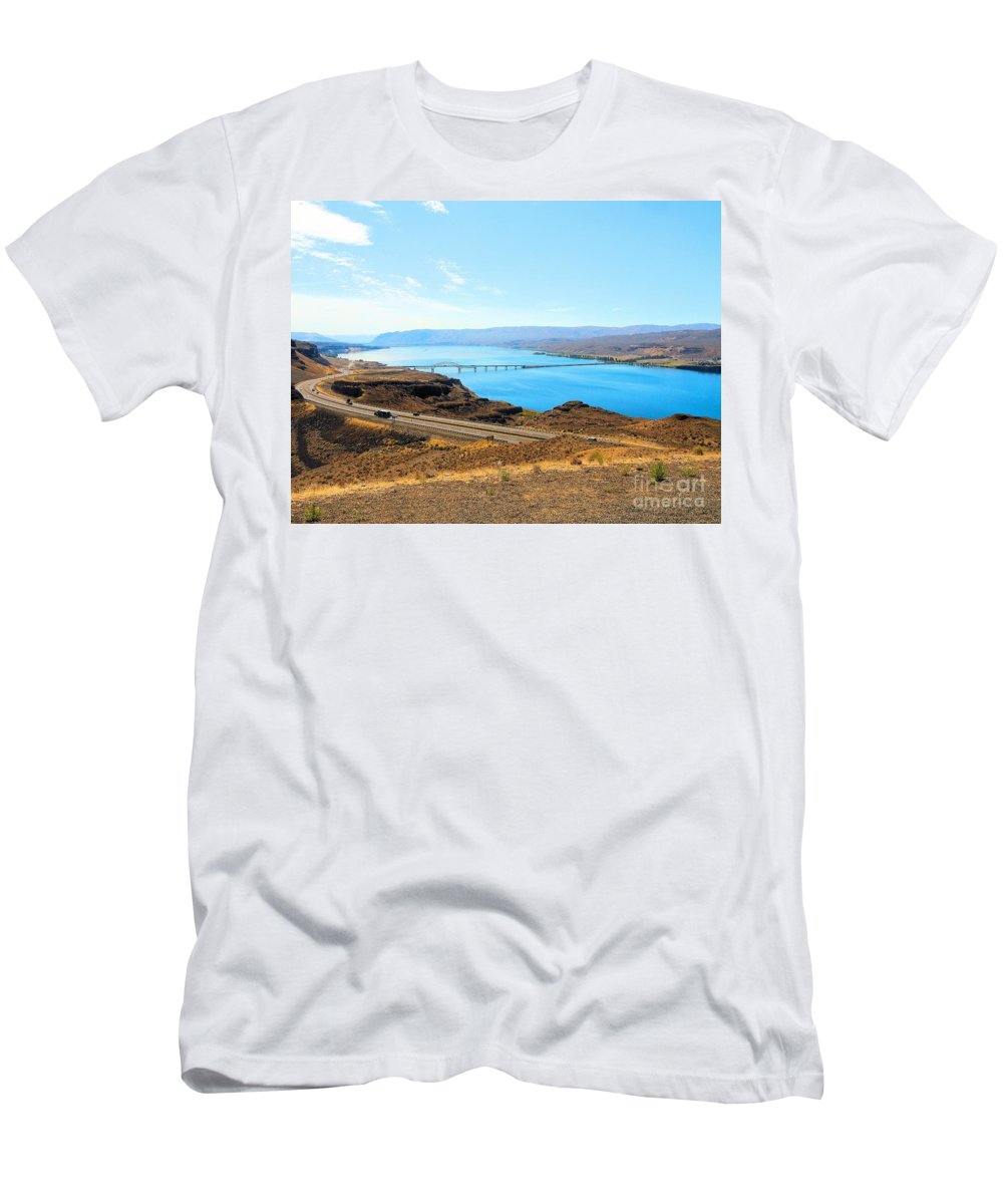 Columbia River Photograph Men's T-Shirt (Athletic Fit) featuring the photograph Columbia River From Overlook by Janette Boyd