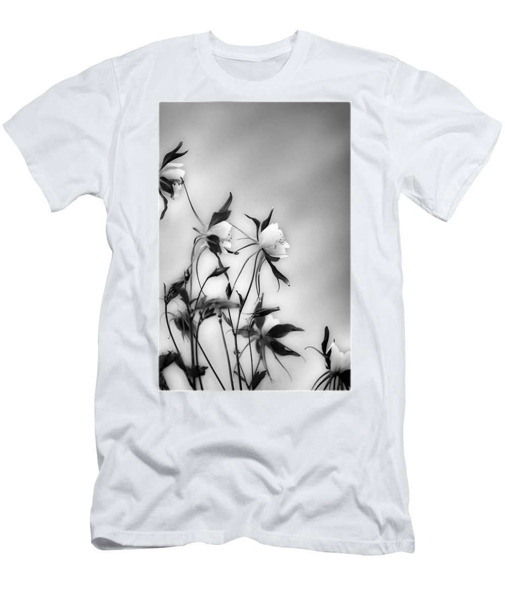 Blossom Men's T-Shirt (Athletic Fit) featuring the photograph Columbines In Black And White by Peter v Quenter