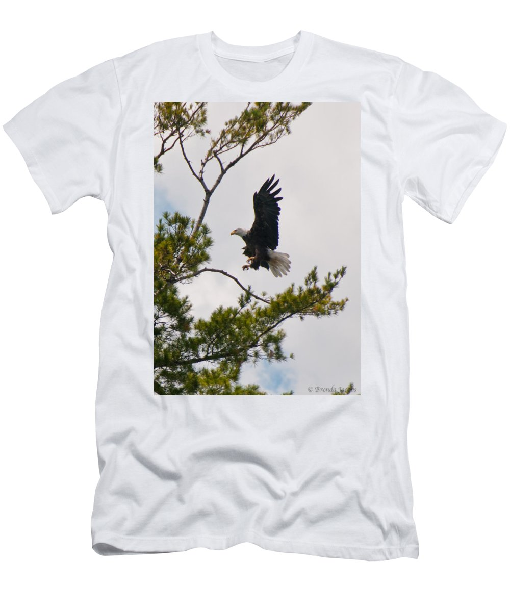 Bald Eagle Men's T-Shirt (Athletic Fit) featuring the photograph Coming In For A Landing by Brenda Jacobs