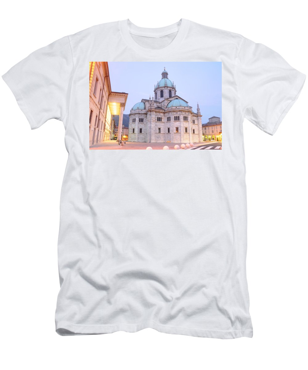 Como Men's T-Shirt (Athletic Fit) featuring the photograph Como Cathedral by Jeremy Voisey