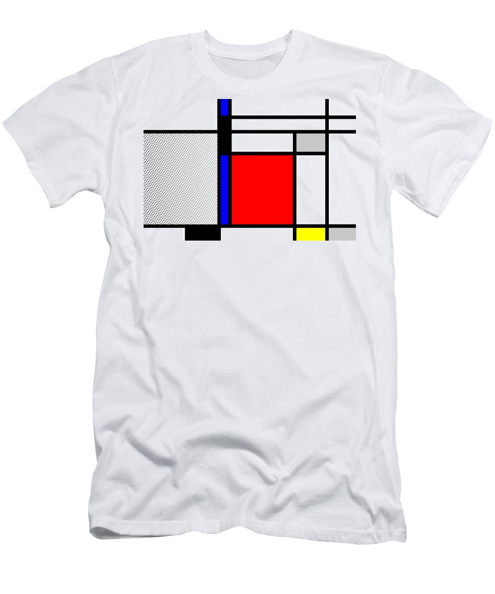 Mondrian Men's T-Shirt (Athletic Fit) featuring the mixed media Composition 102 by Dominic Piperata