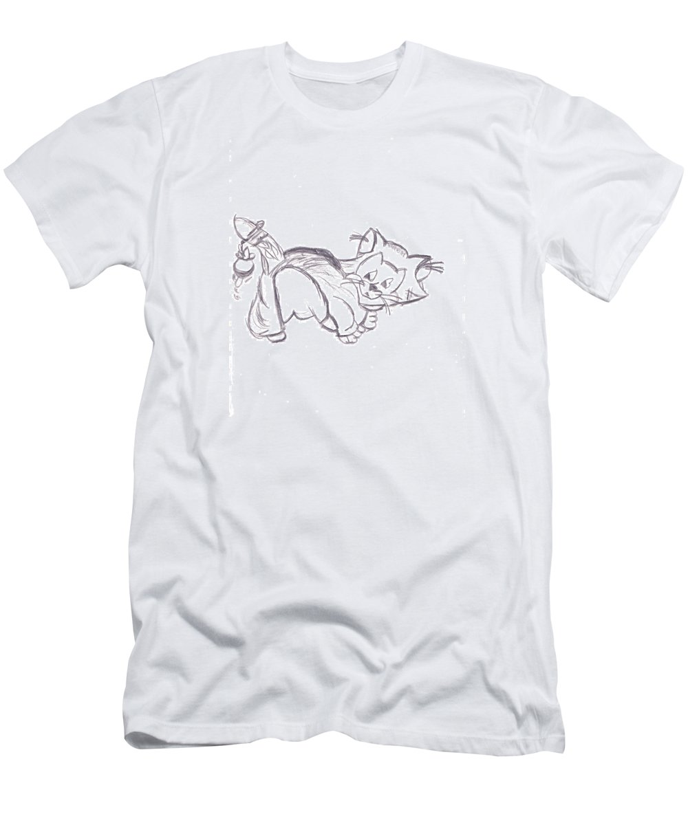 Disney Men's T-Shirt (Athletic Fit) featuring the drawing Confused Figarro by Melissa Vijay Bharwani