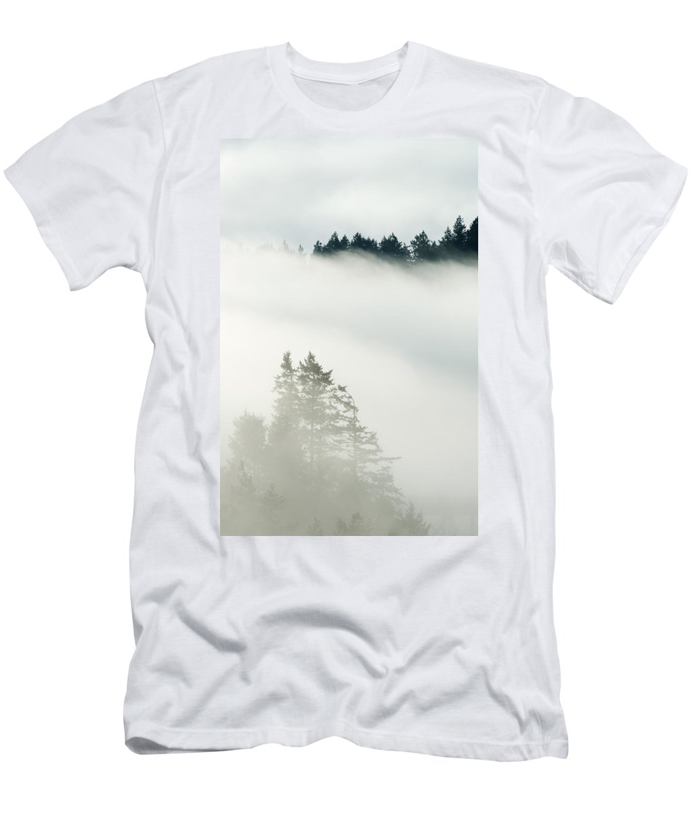 Feb0514 Men's T-Shirt (Athletic Fit) featuring the photograph Conifa And Fog Deception Pass Washington by Kevin Schafer