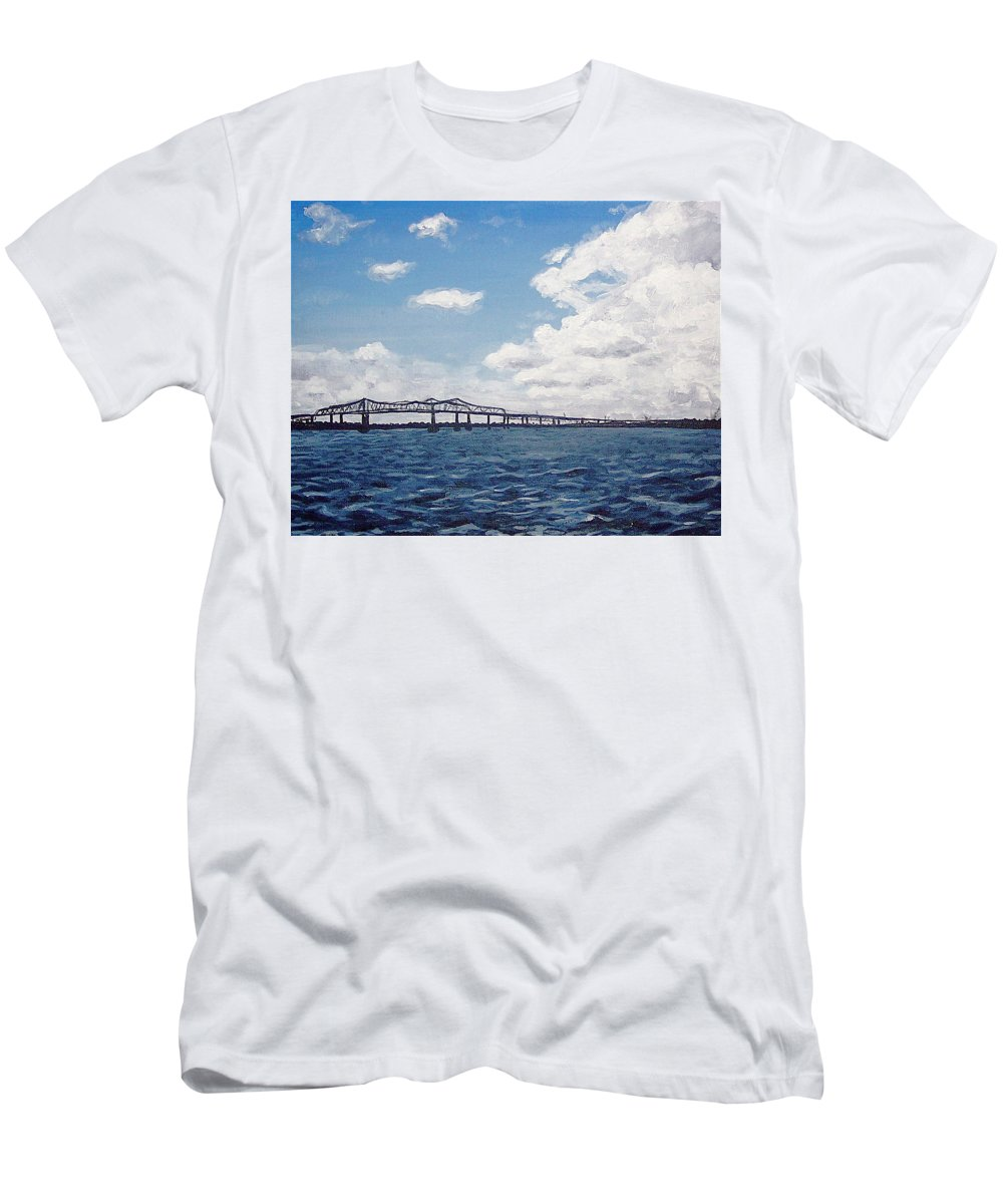 Cooper River Bridge Men's T-Shirt (Athletic Fit) featuring the painting Cooper River Bridge by Sheena Kohlmeyer