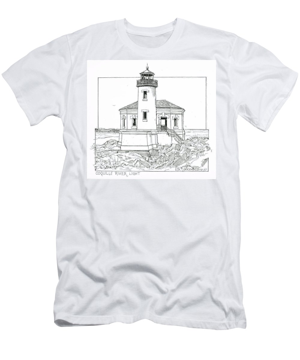 Coquille River Light Men's T-Shirt (Athletic Fit) featuring the drawing Coquille River Light by Ira Shander