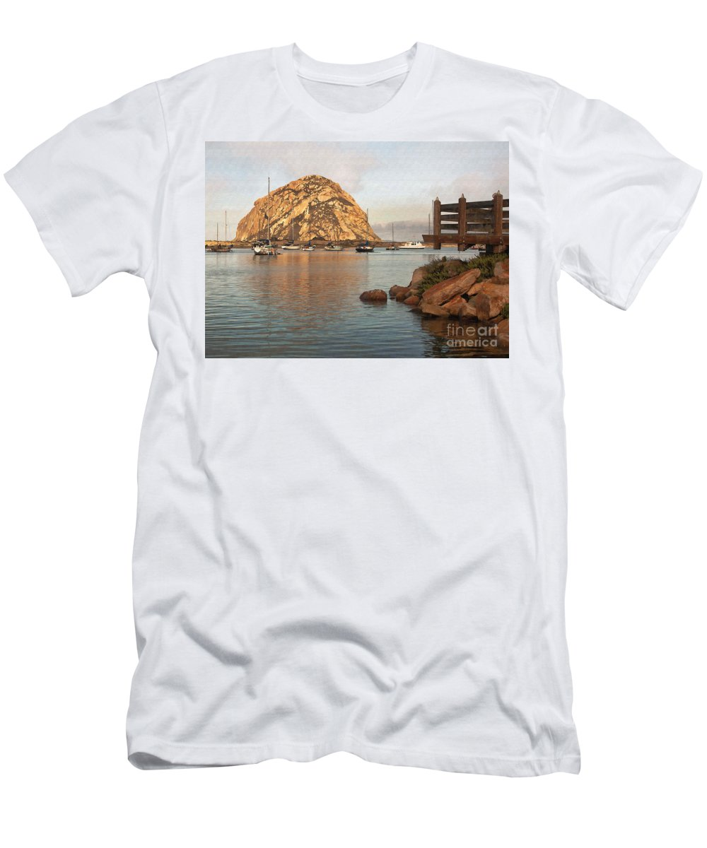 Morro Rock Men's T-Shirt (Athletic Fit) featuring the digital art Corner Harbor by Sharon Foster