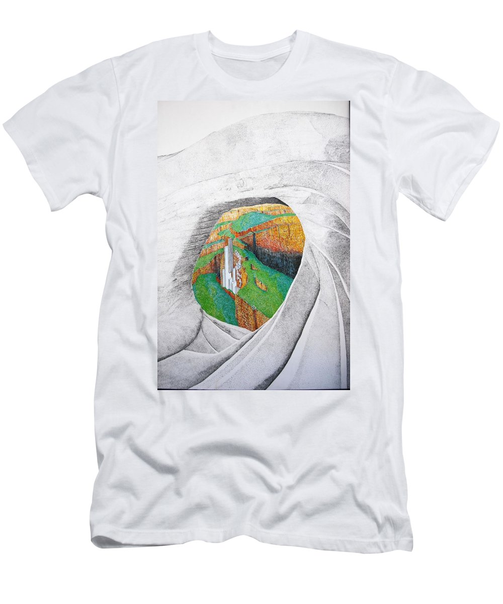 Rocks T-Shirt featuring the painting Cornered Stones by A Robert Malcom