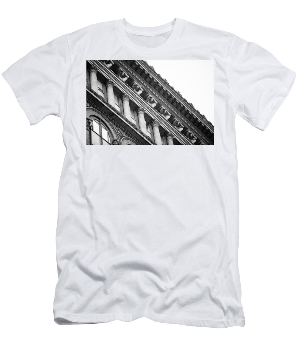 Pittsburgh Pa. Pennsylvania Skyscraper Skyline Building Copper clark Building Men's T-Shirt (Athletic Fit) featuring the photograph Counterparts 5 by Jimmy Taaffe