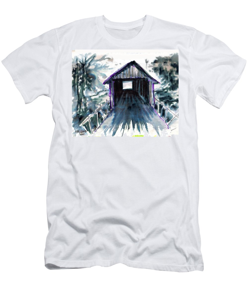 Old South Men's T-Shirt (Athletic Fit) featuring the digital art Covered Bridge by Seth Weaver