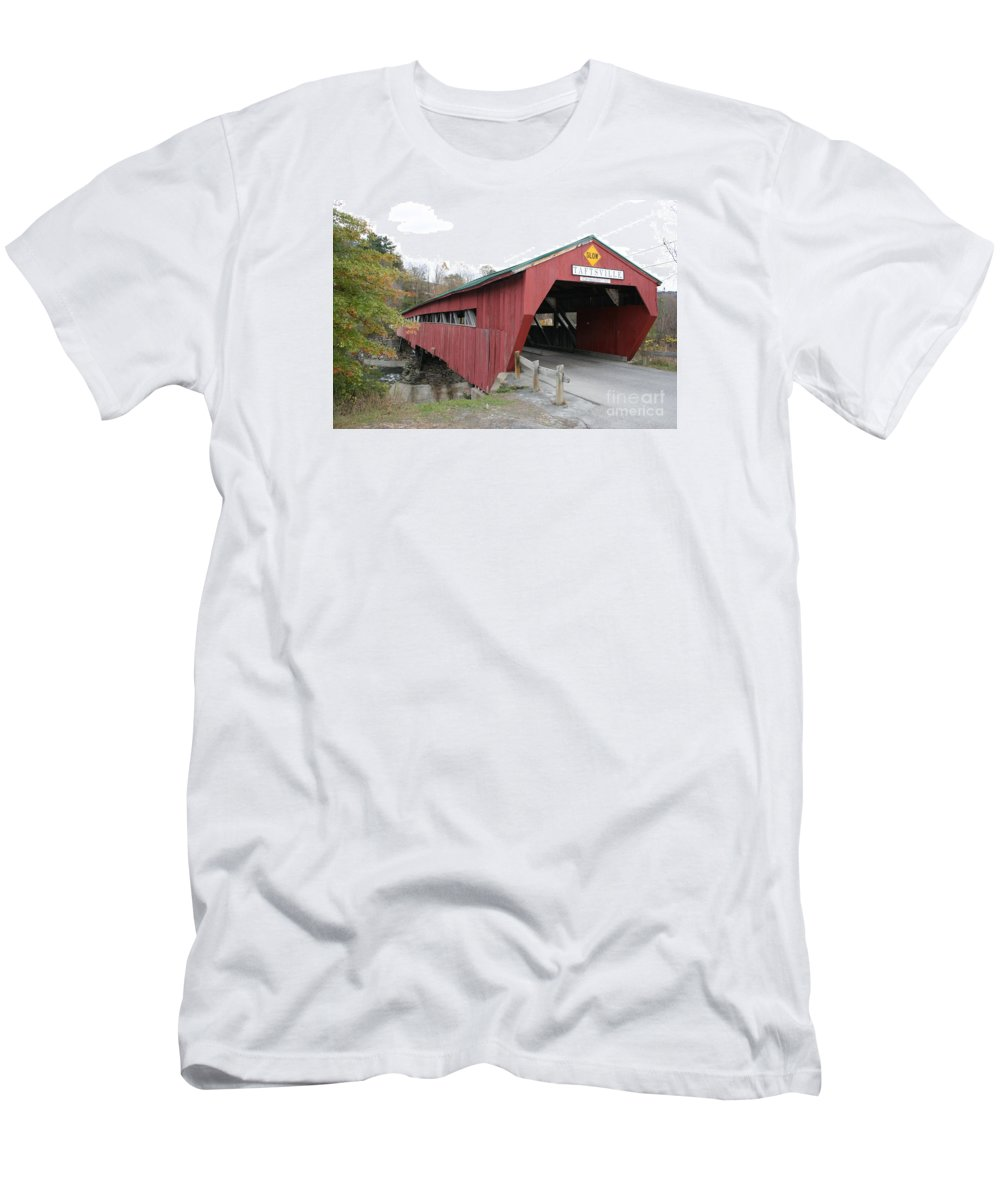 Covered Bridge Men's T-Shirt (Athletic Fit) featuring the photograph Covered Bridge Taftsville by Christiane Schulze Art And Photography