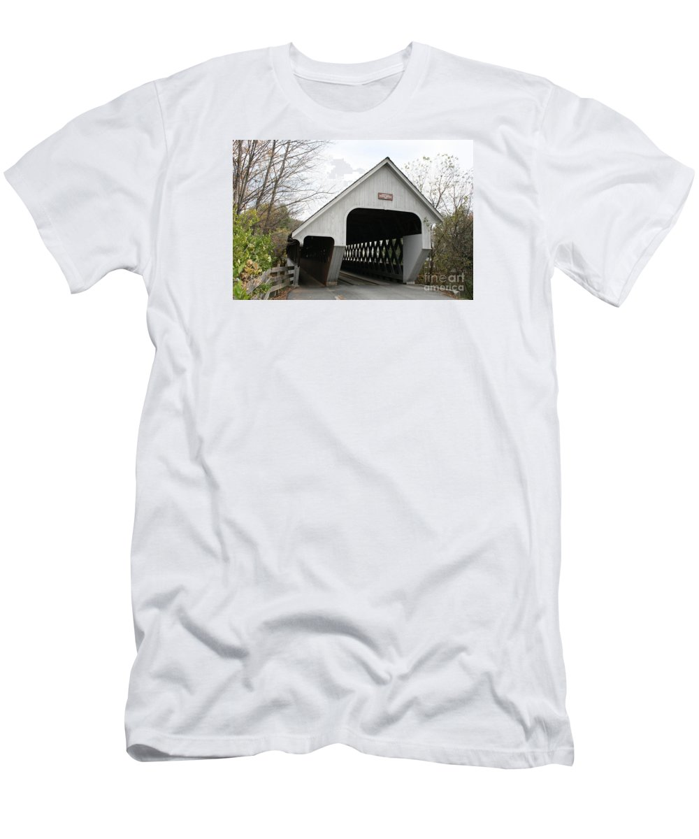 Covered Bridge Men's T-Shirt (Athletic Fit) featuring the photograph Covered Bridge - Woodstock by Christiane Schulze Art And Photography