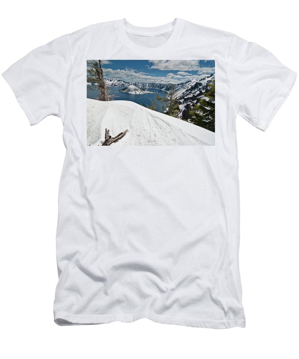 Crater Lake Men's T-Shirt (Athletic Fit) featuring the photograph Crater Lake And Wizard Island In June by Greg Nyquist