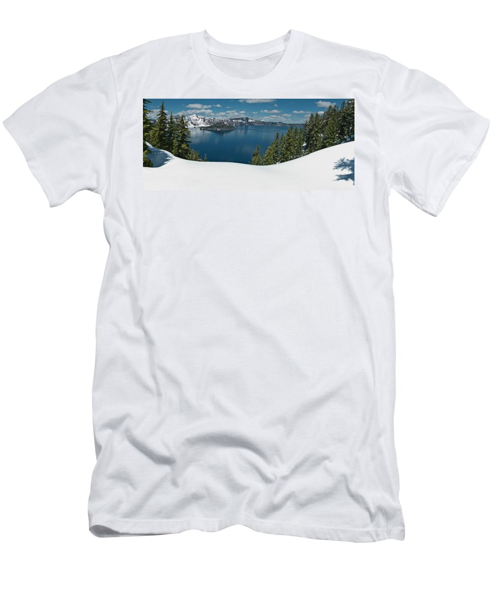 Crater Lake Men's T-Shirt (Athletic Fit) featuring the photograph Crater Lake Panorama by Greg Nyquist