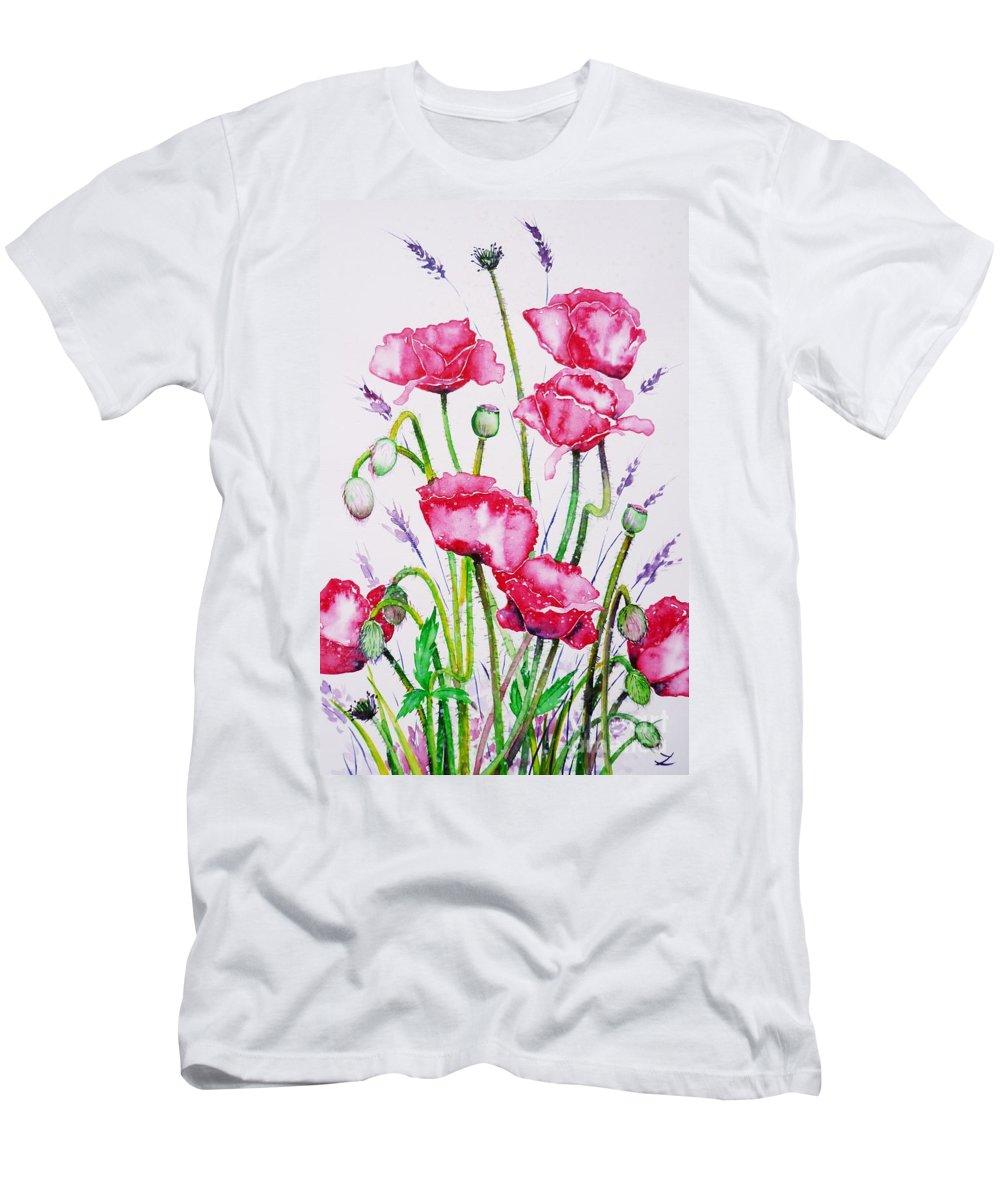Crimson Poppies Men's T-Shirt (Athletic Fit) featuring the painting Crimson Poppies by Zaira Dzhaubaeva