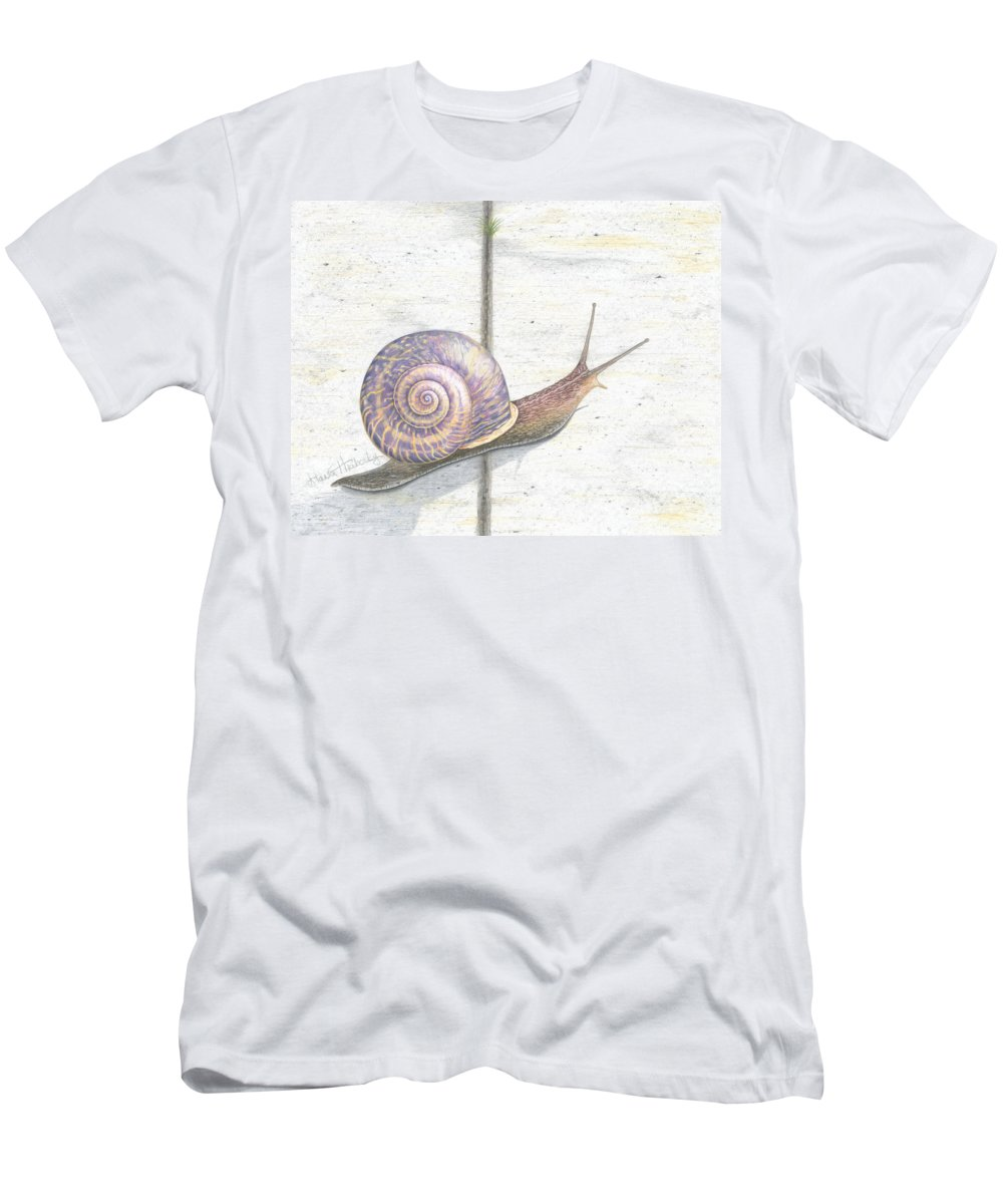 Snail Men's T-Shirt (Athletic Fit) featuring the drawing Crossing The Finish Line by Diana Hrabosky