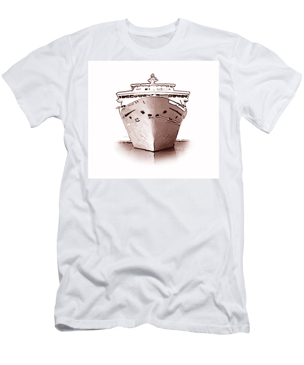 Cruise+ship Men's T-Shirt (Athletic Fit) featuring the photograph Cruise Ship by Charles Beeler