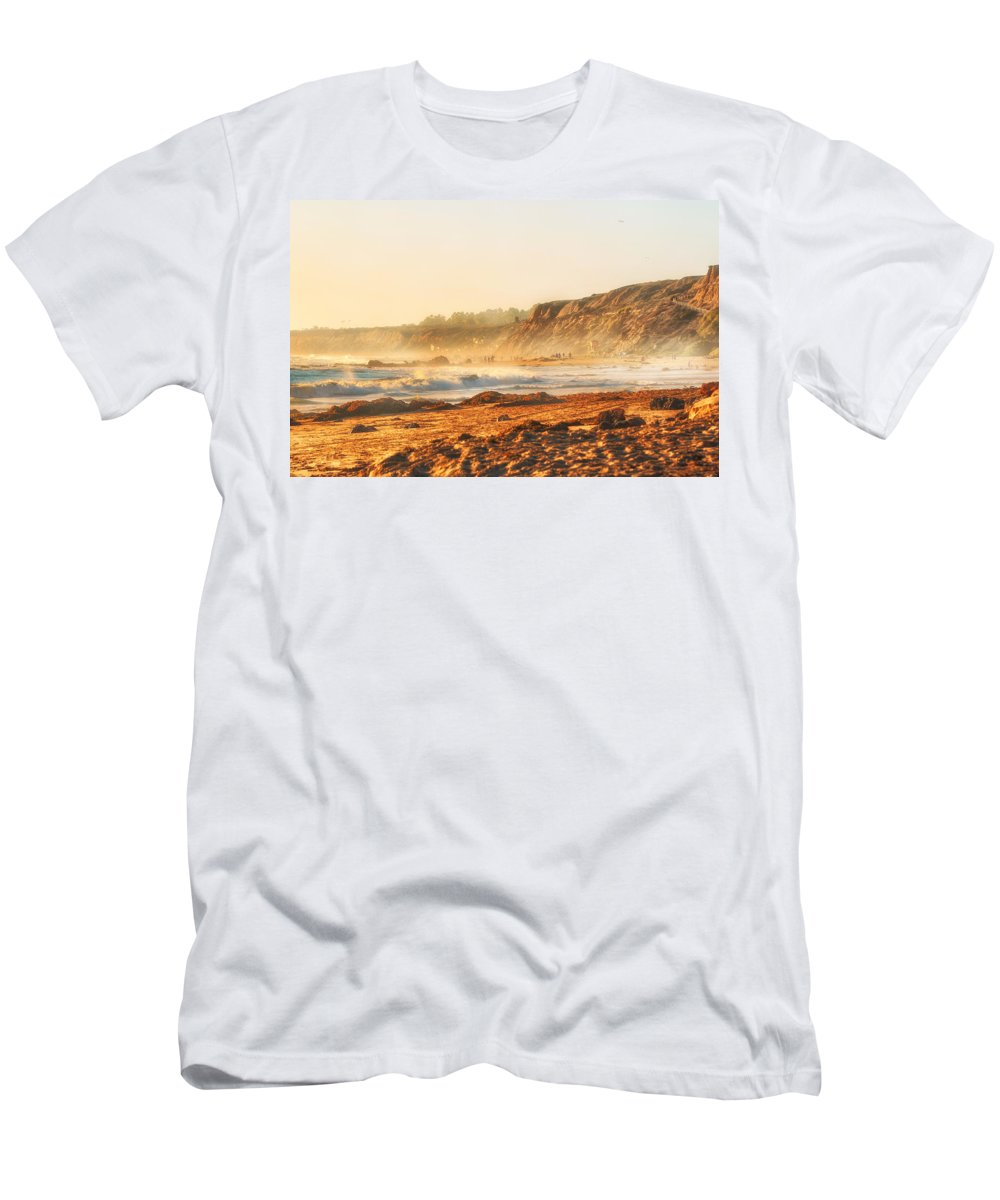 Crystal Cove Men's T-Shirt (Athletic Fit) featuring the photograph Crystal Cove At Sunset 1 by Angela Stanton
