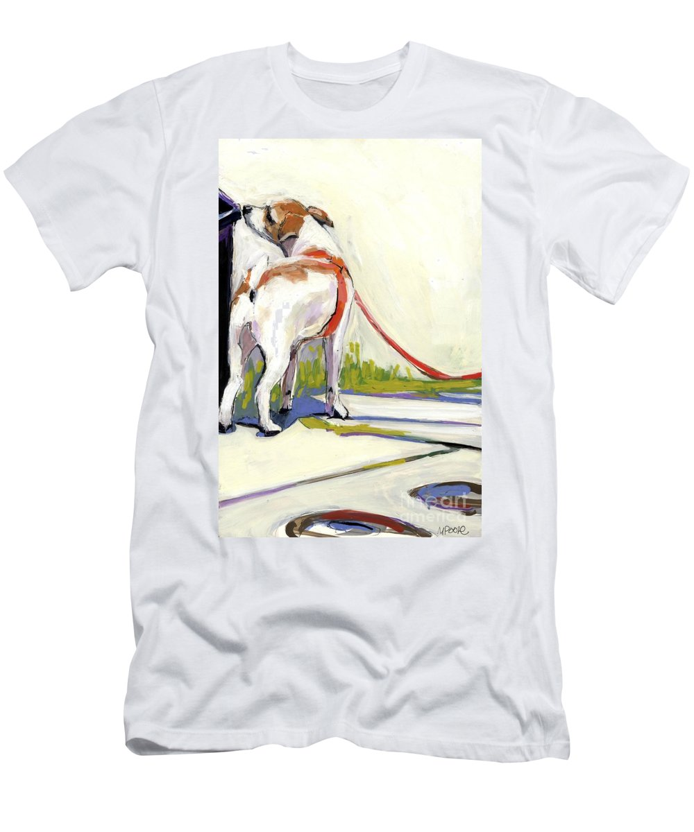 Dog Men's T-Shirt (Athletic Fit) featuring the painting Curbside by Molly Poole