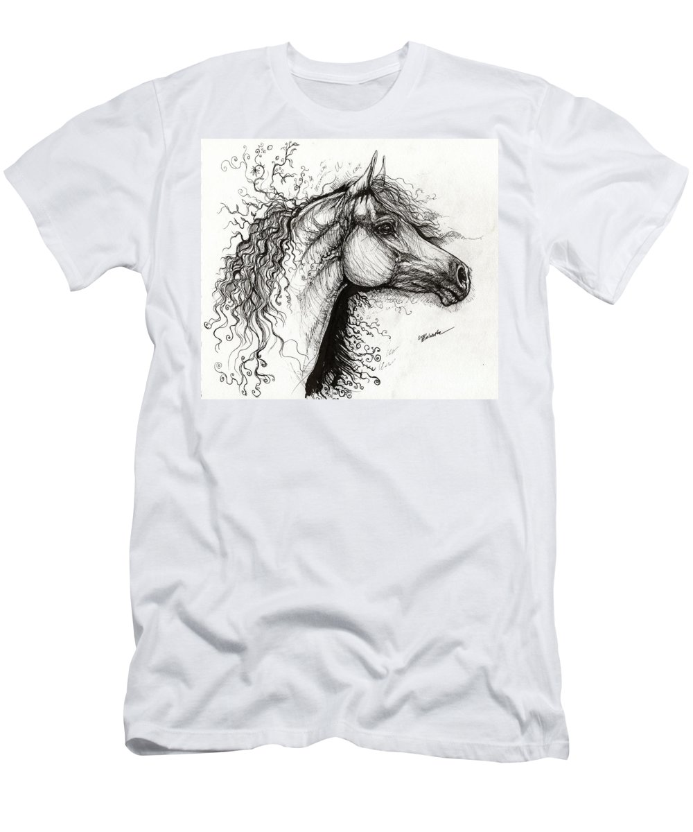 Horse Men's T-Shirt (Athletic Fit) featuring the drawing Curls And Swirls by Angel Ciesniarska