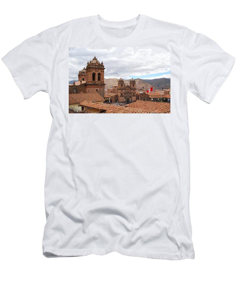 Plaza Del Armas Men's T-Shirt (Athletic Fit) featuring the photograph Cuzco Plaza Del Armas by Cascade Colors