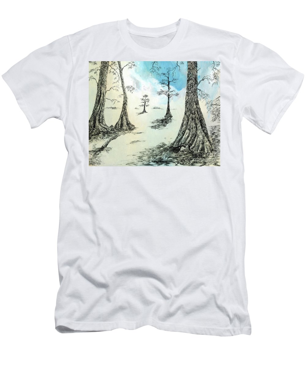 Cypress Men's T-Shirt (Athletic Fit) featuring the drawing Cypress In Ink by Lizi Beard-Ward