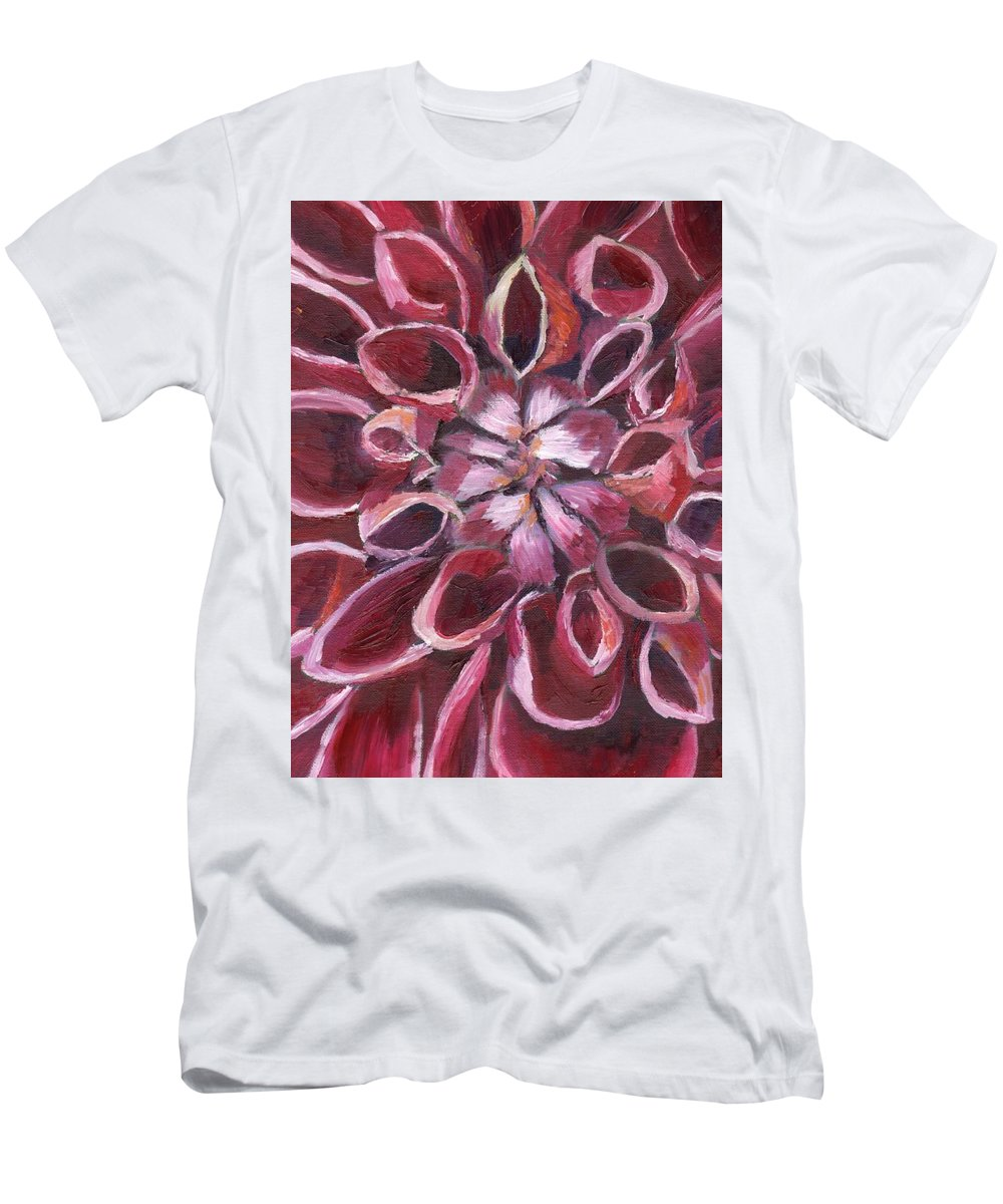 Dahlia Men's T-Shirt (Athletic Fit) featuring the painting Dahlia - Closeup 2 by Julie Drake