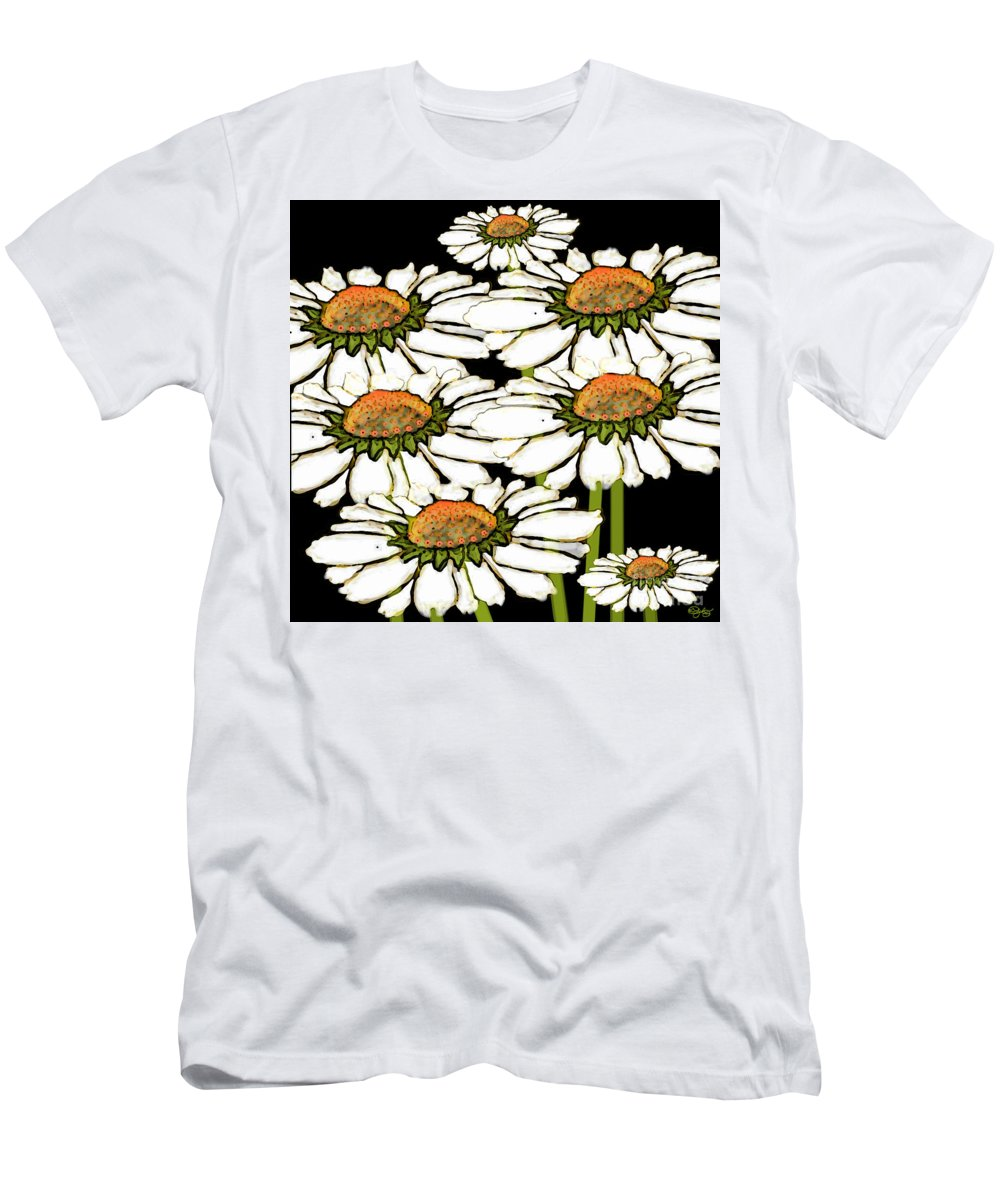 Daisy Men's T-Shirt (Athletic Fit) featuring the digital art Daisies In The Dark by Carol Jacobs