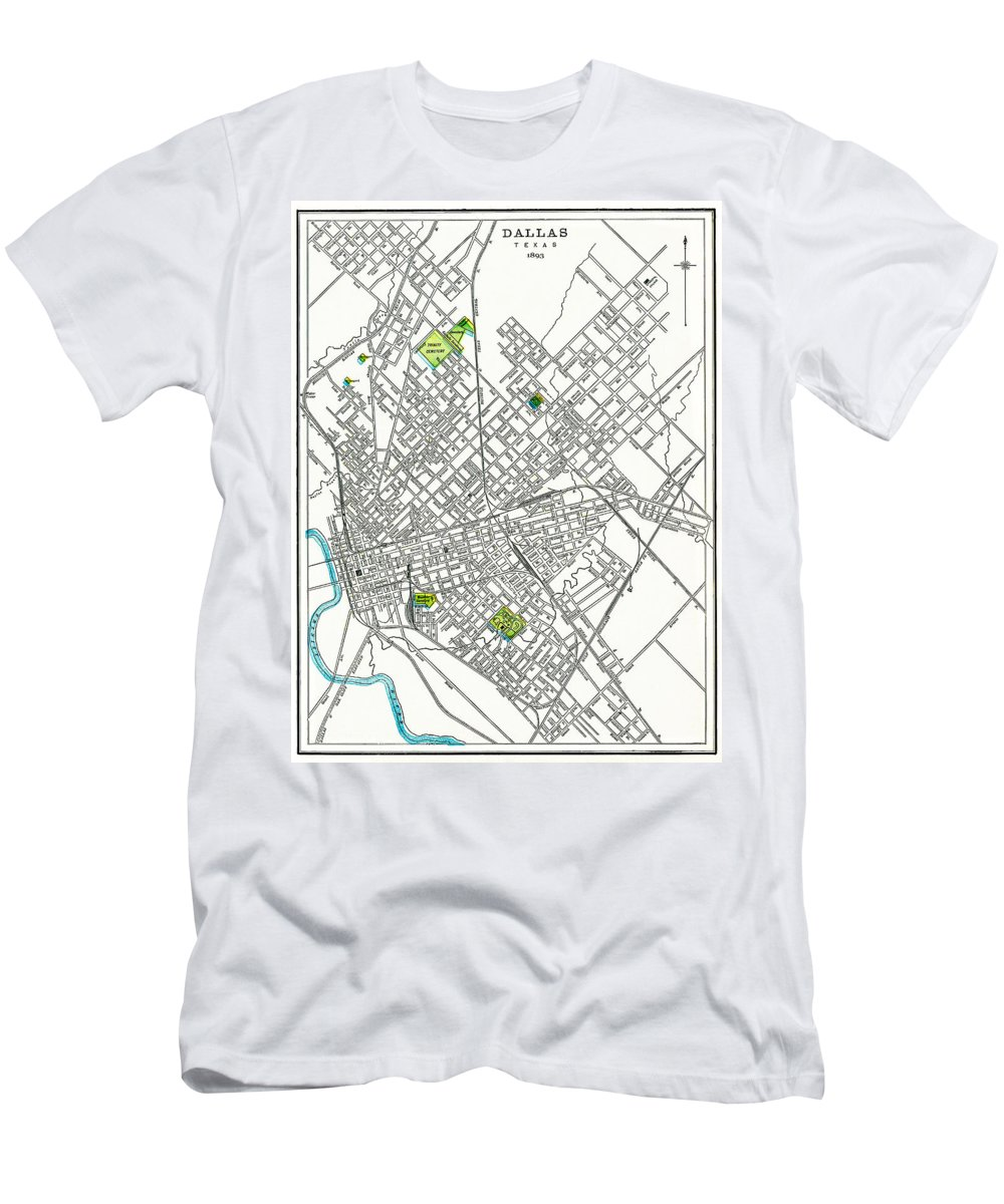 Dallas Men's T-Shirt (Athletic Fit) featuring the photograph Dallas Texas Hand Drawn Map 1893 by Daniel Hagerman