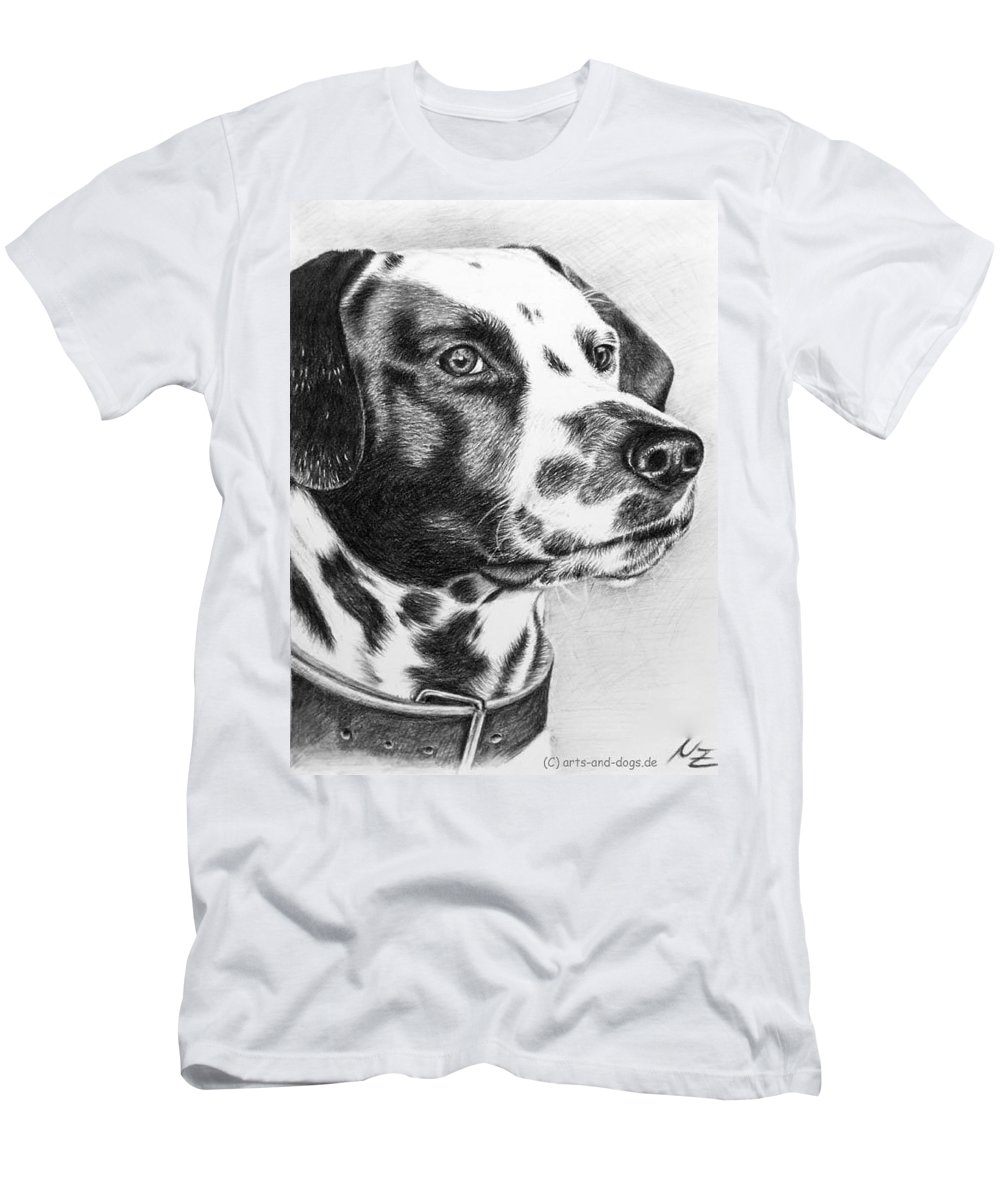 Dog Men's T-Shirt (Athletic Fit) featuring the drawing Dalmatian Portrait by Nicole Zeug