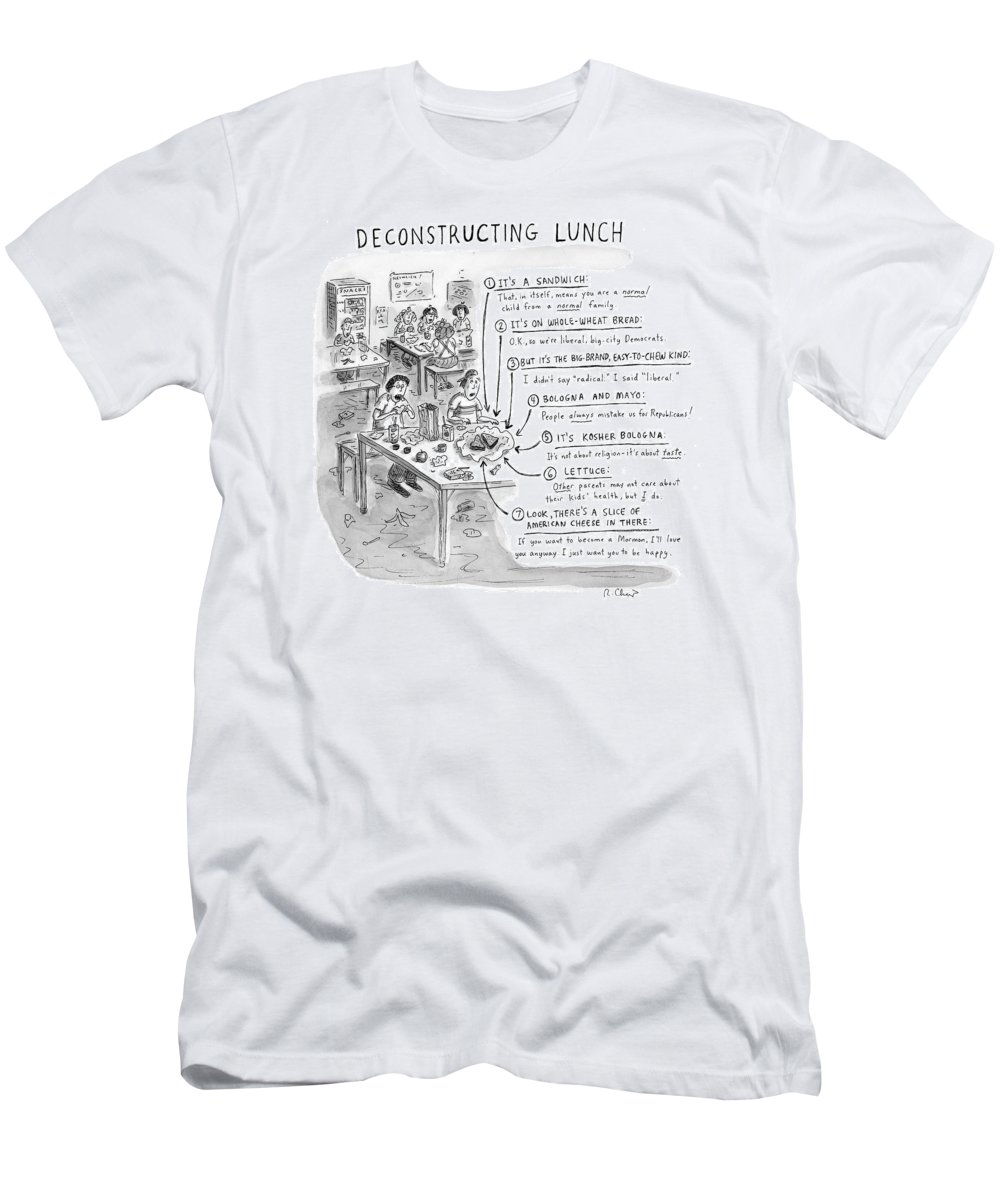 Sandwiches Men's T-Shirt (Athletic Fit) featuring the drawing Deconstructing Lunch by Roz Chast