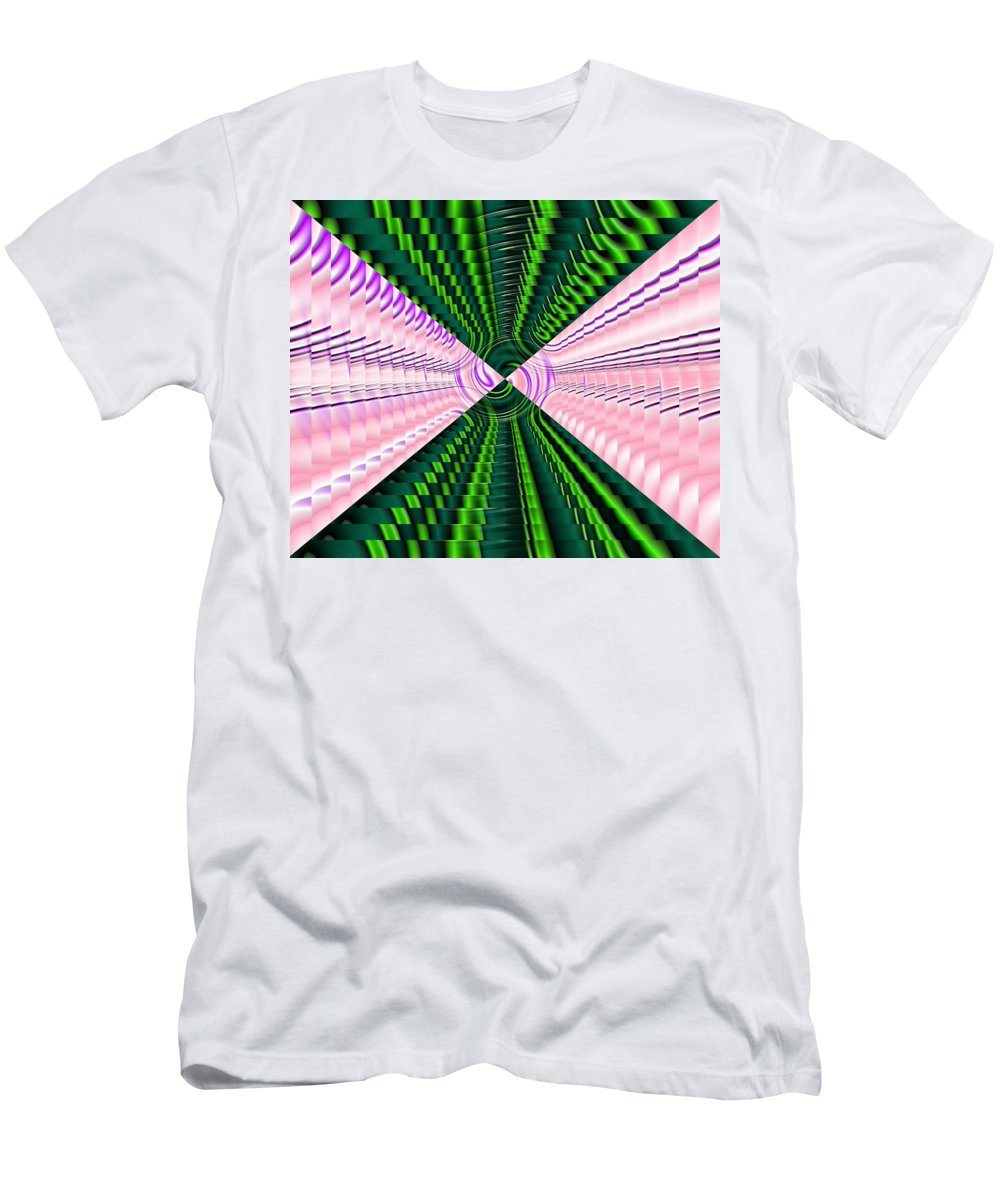Swirl Men's T-Shirt (Athletic Fit) featuring the digital art Deep Green And Pink by Ron Hedges