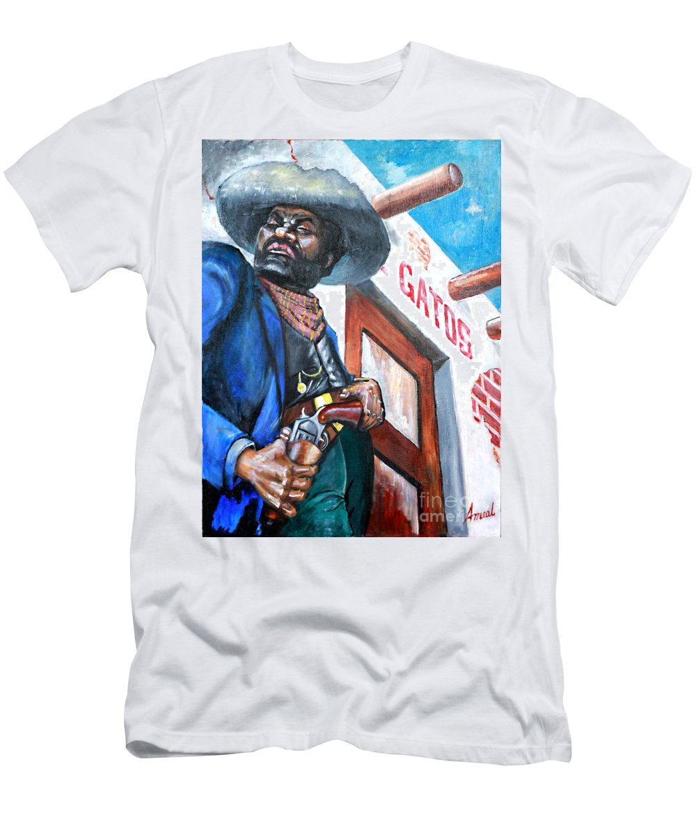 Bad Guy Men's T-Shirt (Athletic Fit) featuring the painting Del Gato's Place by George Ameal Wilson