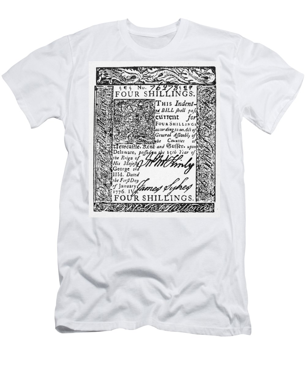 1776 Men's T-Shirt (Athletic Fit) featuring the photograph Delaware Banknote, 1776 by Granger