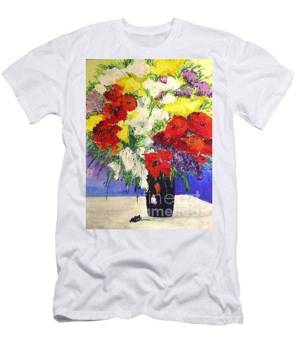 Landscape Men's T-Shirt (Athletic Fit) featuring the painting Delightful by Allan P Friedlander