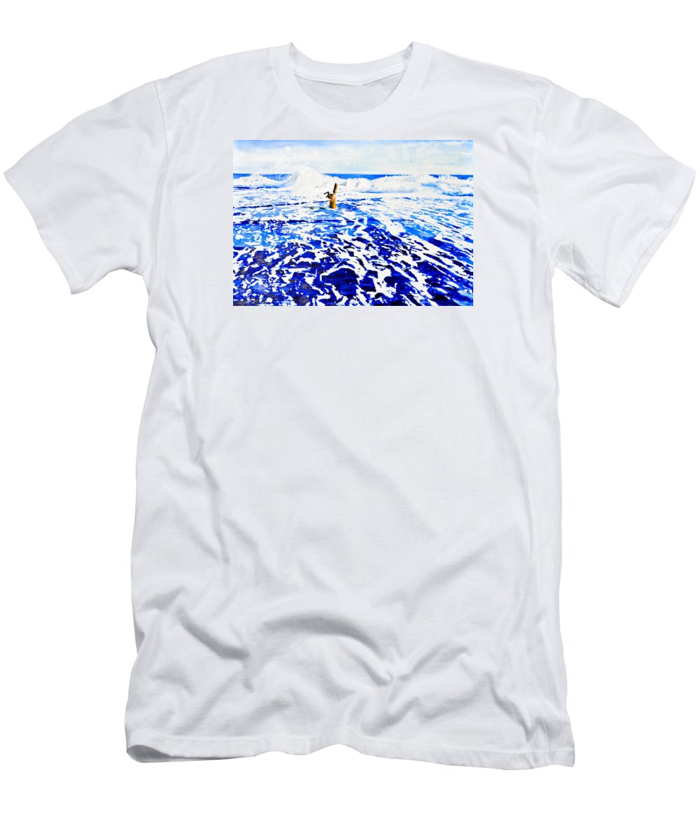 Seacher Men's T-Shirt (Athletic Fit) featuring the painting Der Sucher by Eckhard Besuden