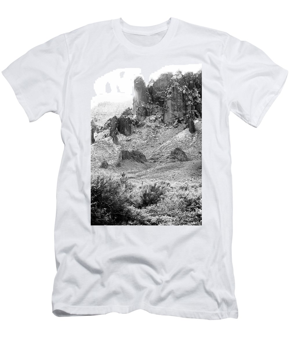 Landscape Men's T-Shirt (Athletic Fit) featuring the photograph Desert Snowstorm Black And White by Phyllis Denton