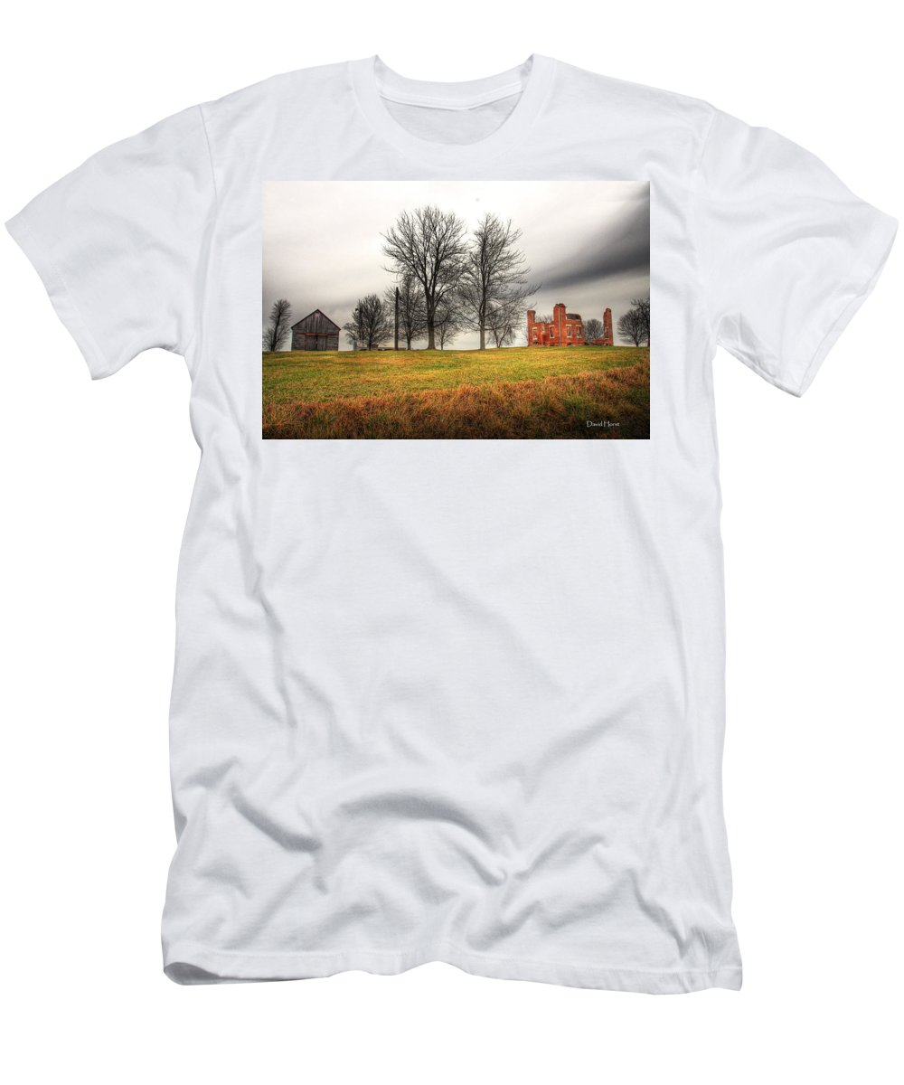Farm Farmhouse Brick Farmstead Rural Country Scene Scenery Ruined Ruins Landscape Past Decay Crumbling Beauty Clouds Sky Meadow Men's T-Shirt (Athletic Fit) featuring the photograph Devastated Beauty by David Horst