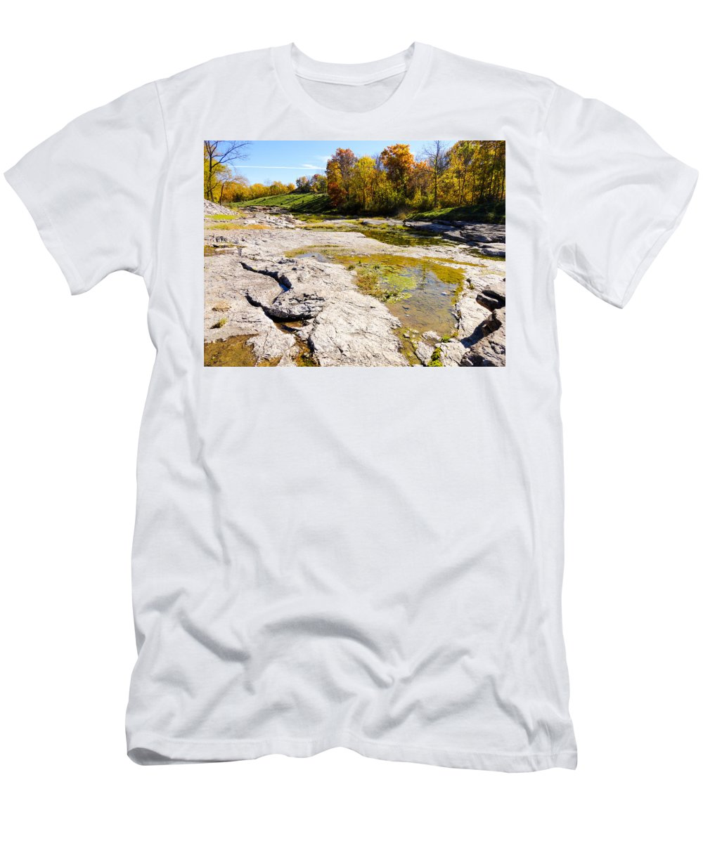Devonian Fossil Gorge Coralville Lake Ia Men's T-Shirt (Athletic Fit) featuring the photograph Devonian Fossil Gorge Coralville Lake Ia 1 by Cynthia Woods