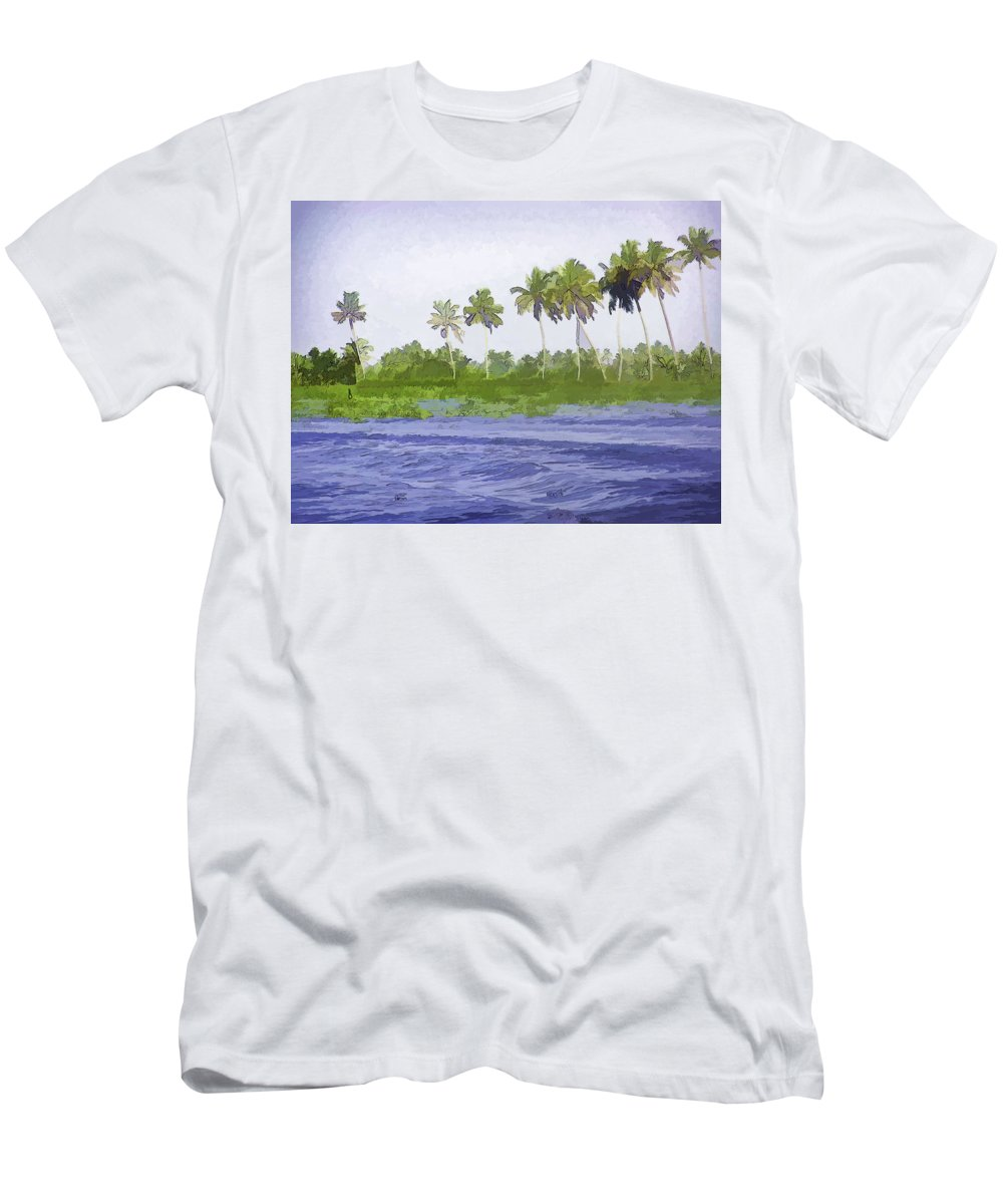 Alleppey Men's T-Shirt (Athletic Fit) featuring the digital art Digital Oil Painting - Water Rippling In The Coastal Lagoon by Ashish Agarwal