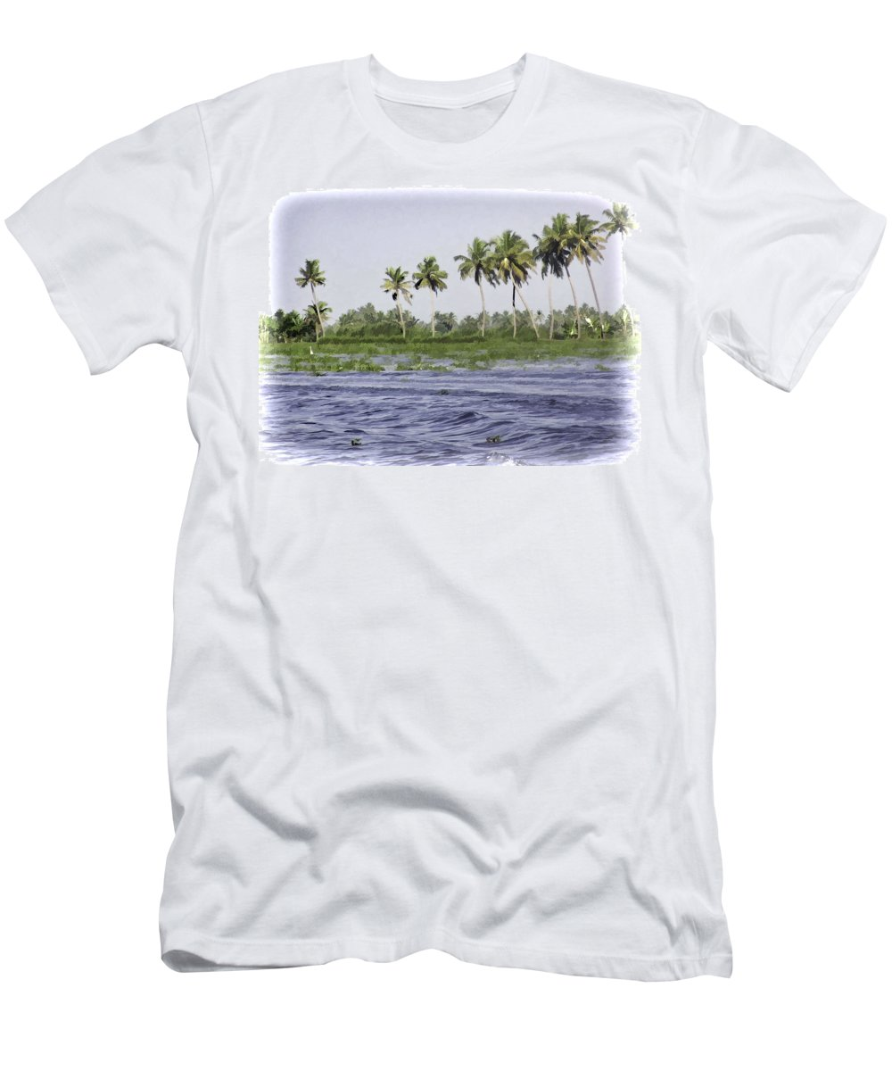 Alleppey Men's T-Shirt (Athletic Fit) featuring the digital art Digital Oil Painting - Water Rippling In The Coastal Lagoon Due To The Boat by Ashish Agarwal