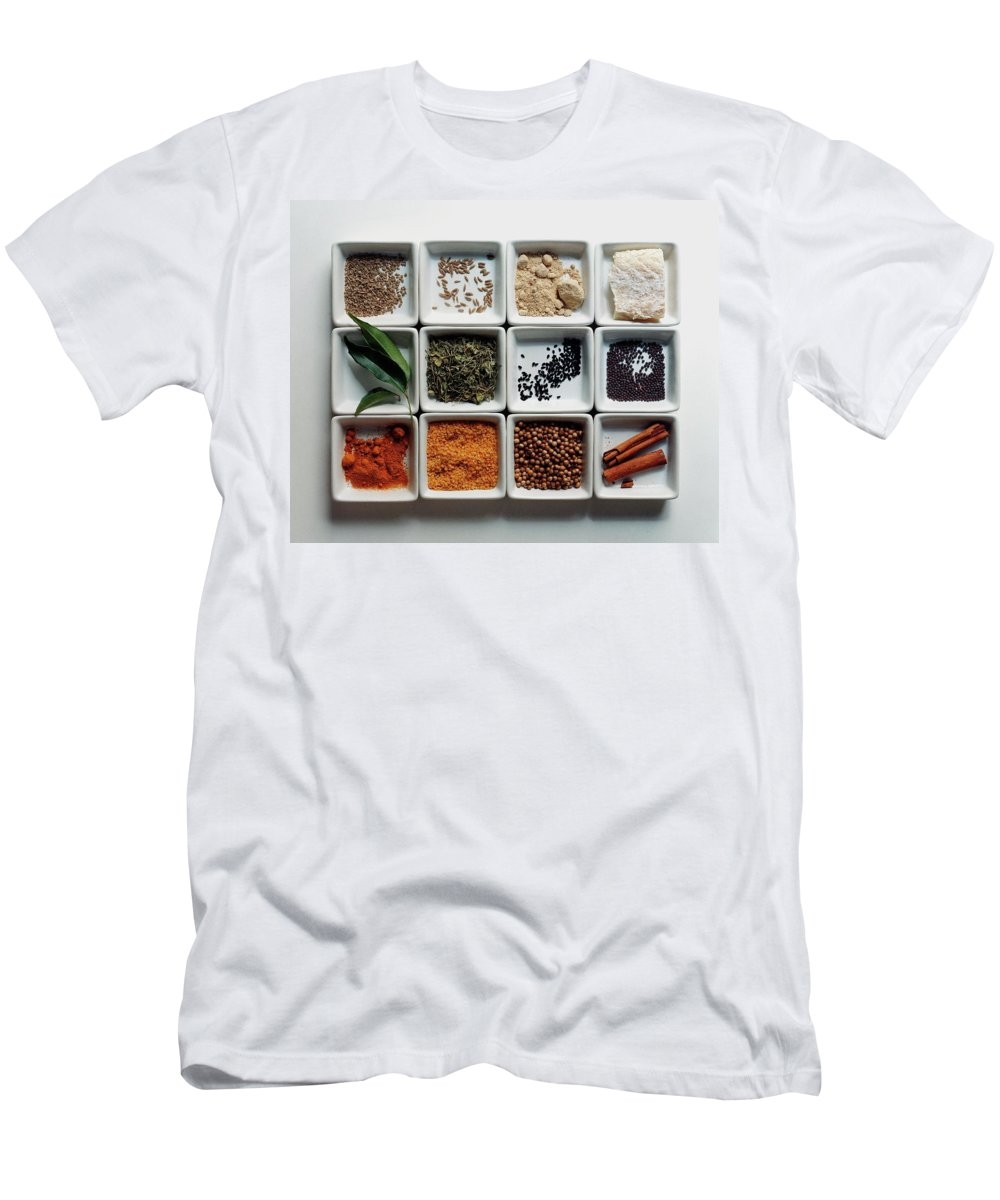 Cooking Men's T-Shirt (Athletic Fit) featuring the photograph Dishes Of Spices by Romulo Yanes
