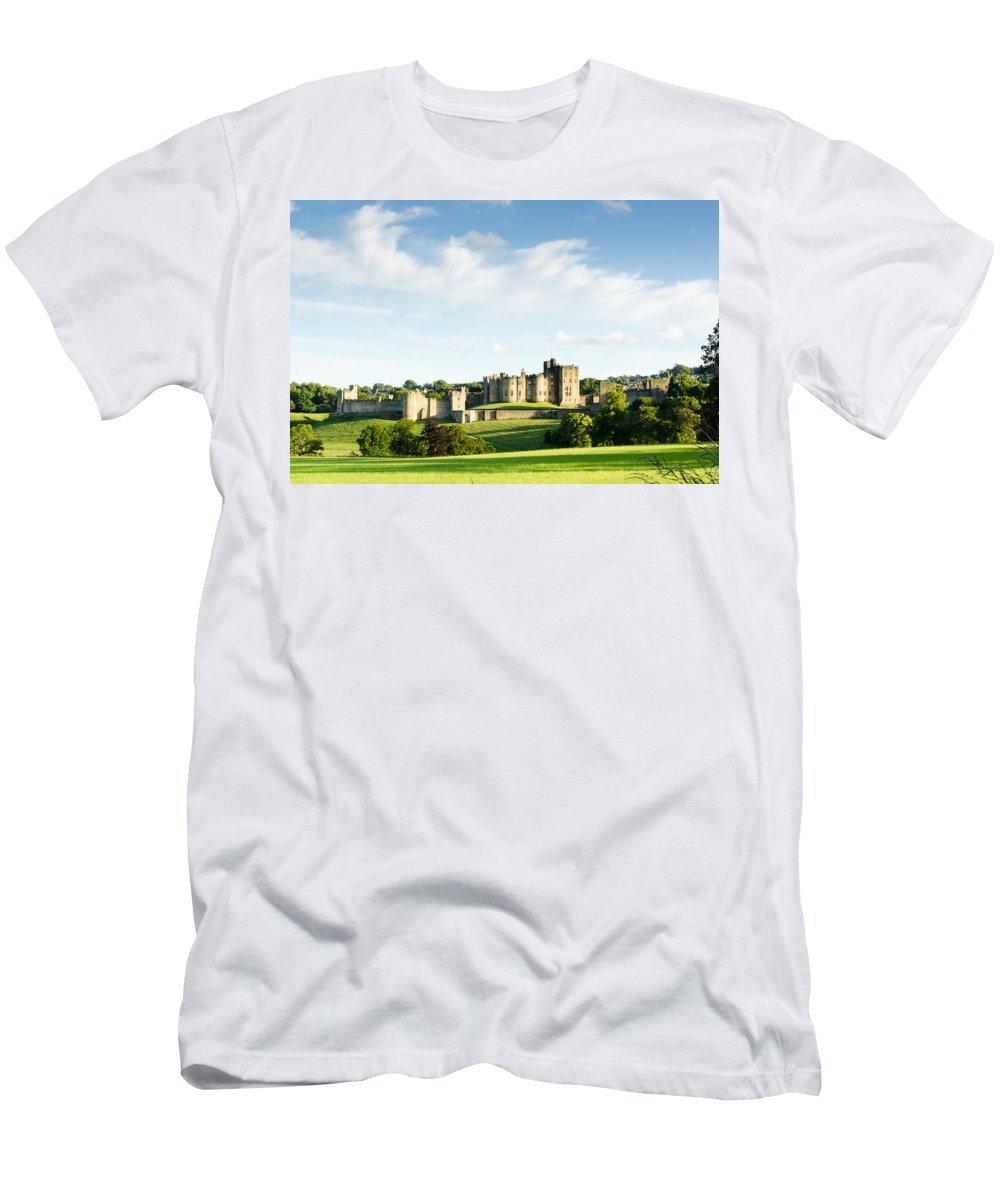Northumberland Men's T-Shirt (Athletic Fit) featuring the photograph Distant Alnwick Castle by David Head