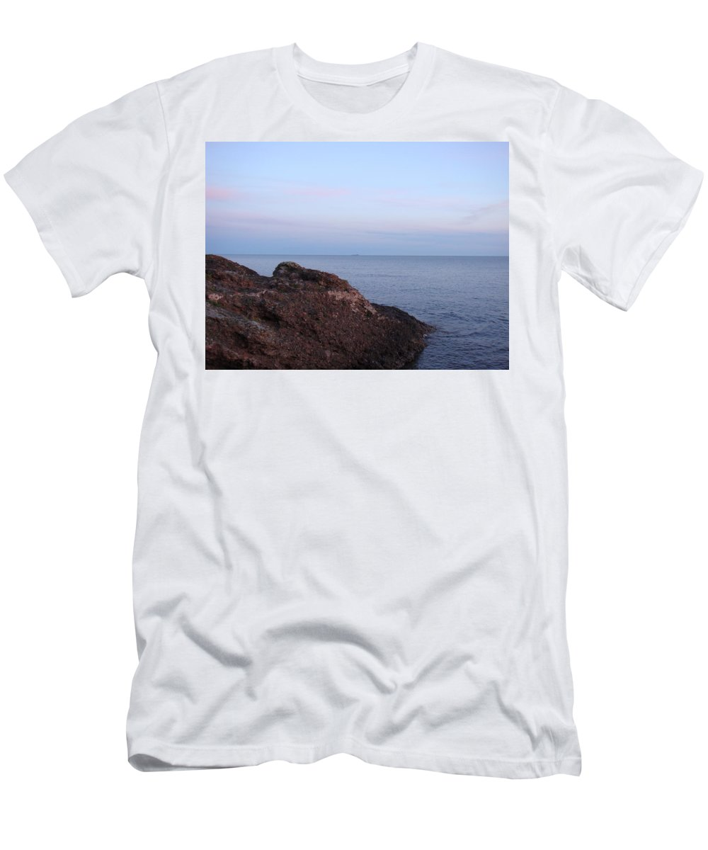 Ore Carrier Men's T-Shirt (Athletic Fit) featuring the photograph Distant Freighter by Bonfire Photography