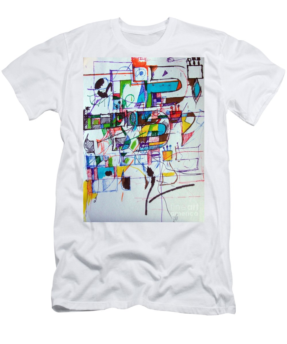 Torah Men's T-Shirt (Athletic Fit) featuring the drawing Divinely Blessed Marital Harmony 51 by David Baruch Wolk