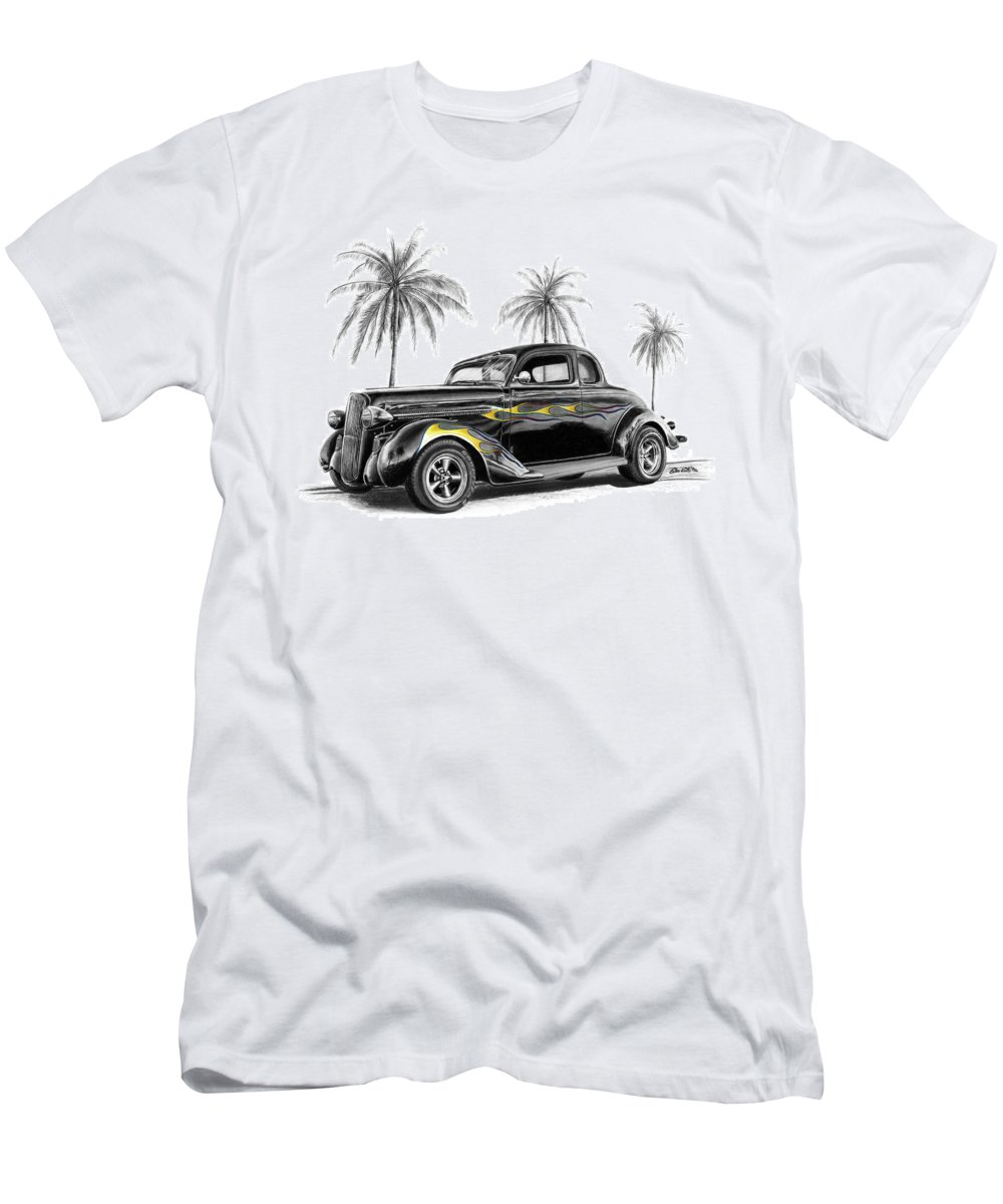 1936 Dodge Coupe Men's T-Shirt (Athletic Fit) featuring the drawing Dodge Coupe by Peter Piatt