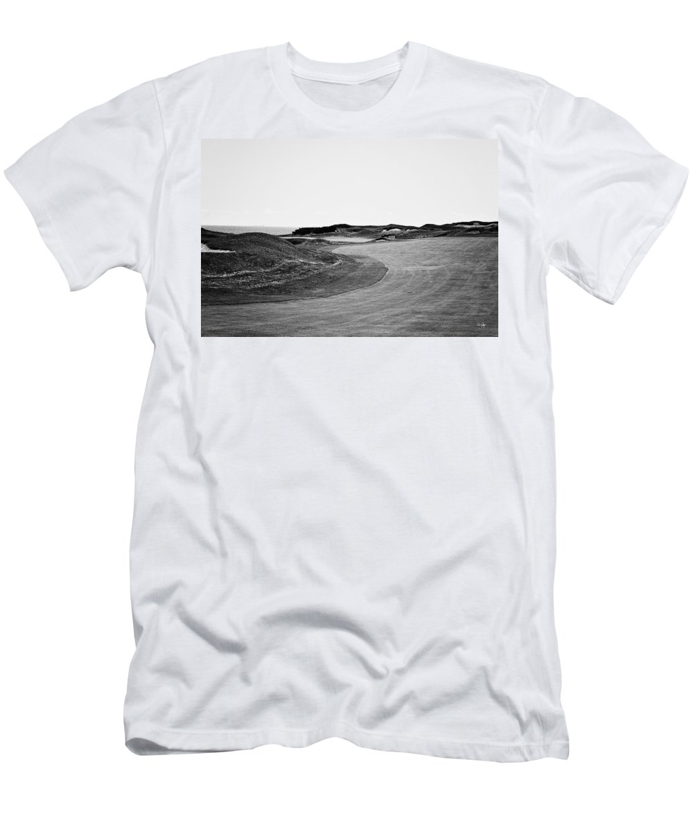 Black & White Men's T-Shirt (Athletic Fit) featuring the photograph Dog Leg Left - Bw by Scott Pellegrin