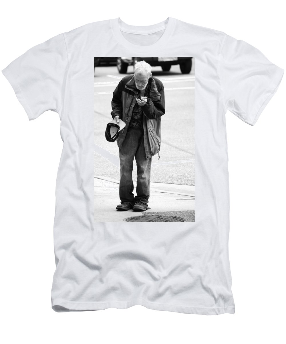 Street Photography Men's T-Shirt (Athletic Fit) featuring the photograph Dollars That Flew by The Artist Project