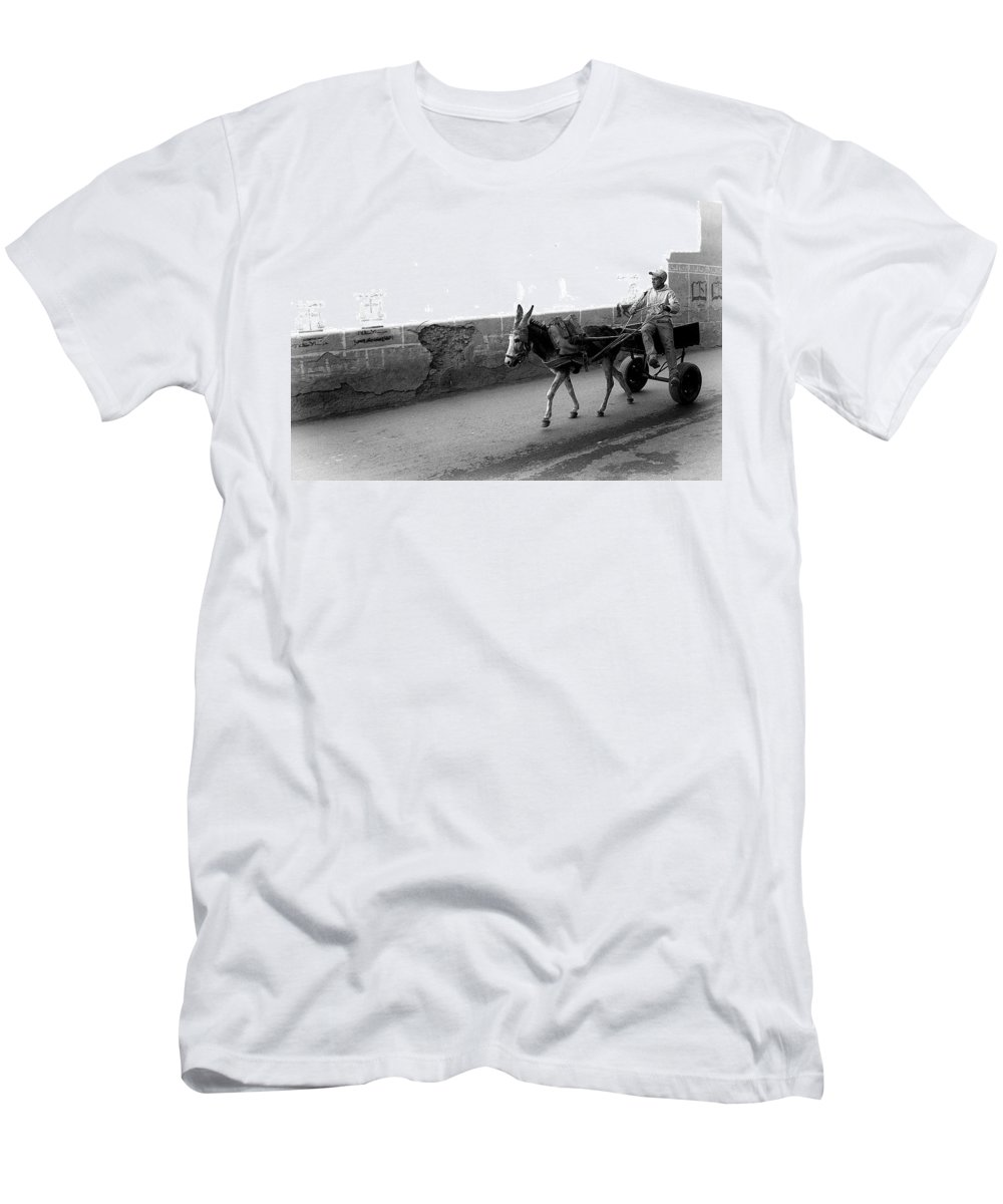 Donkey Men's T-Shirt (Athletic Fit) featuring the photograph Donkey Cart In Marrakech by David Resnikoff