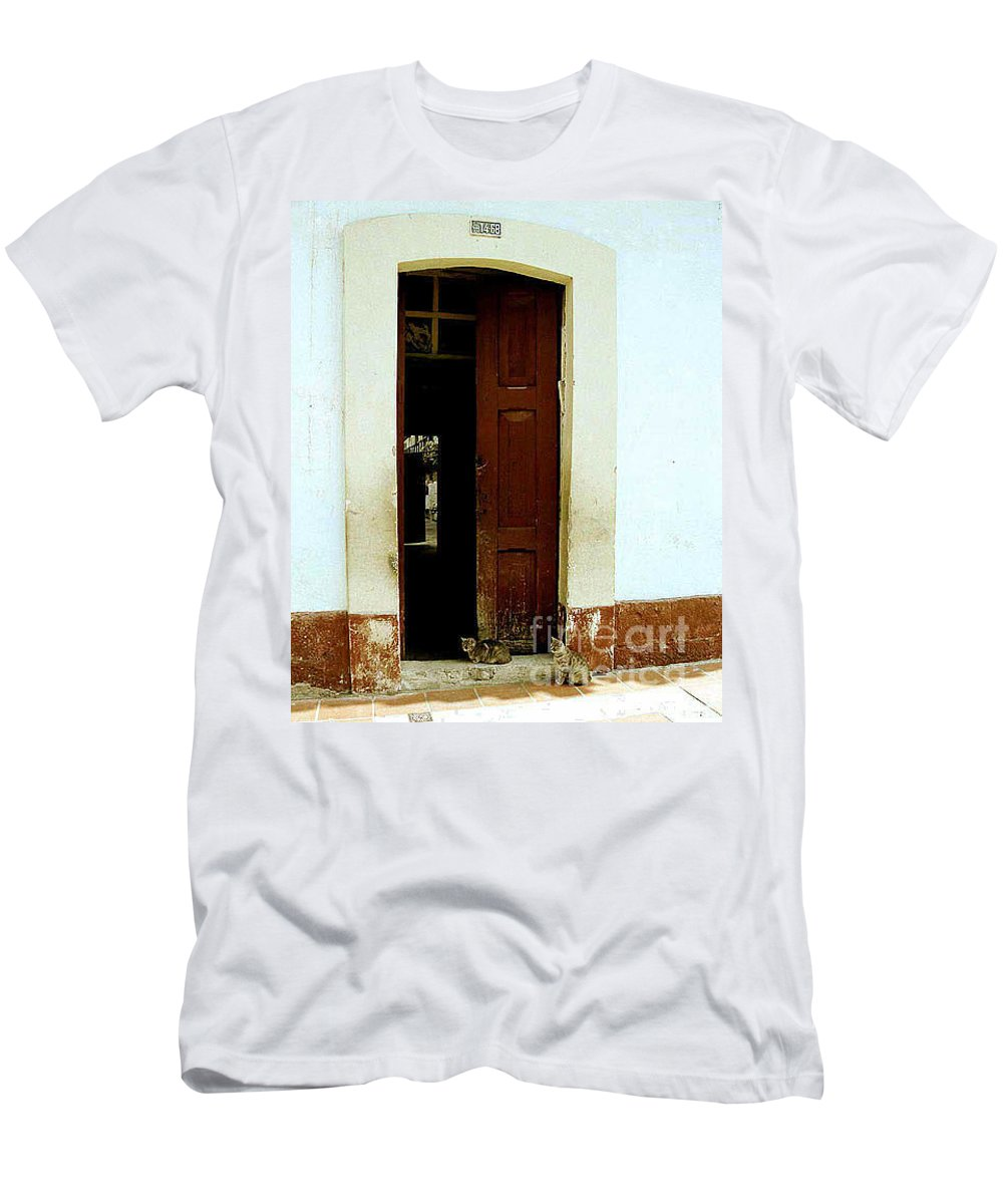 Cats Men's T-Shirt (Athletic Fit) featuring the photograph Dos Puertas Con Dos Gatos by Kathy McClure